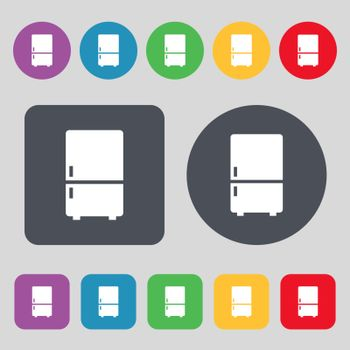 Refrigerator icon sign. A set of 12 colored buttons. Flat design. Vector