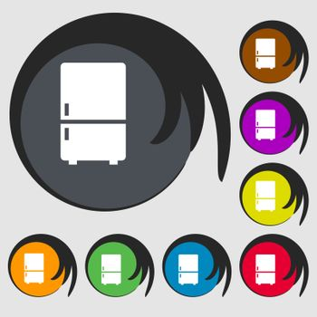 Refrigerator icon. Symbols on eight colored buttons. Vector