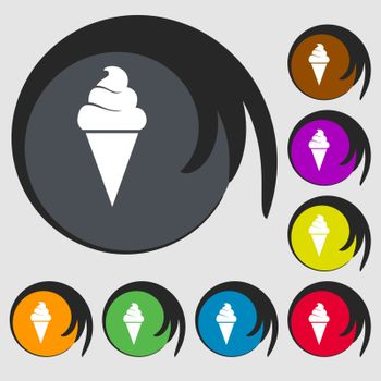 ice cream icon. Symbols on eight colored buttons. Vector