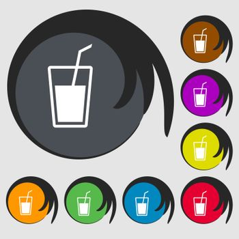 Soft drink  icon. Symbols on eight colored buttons. Vector