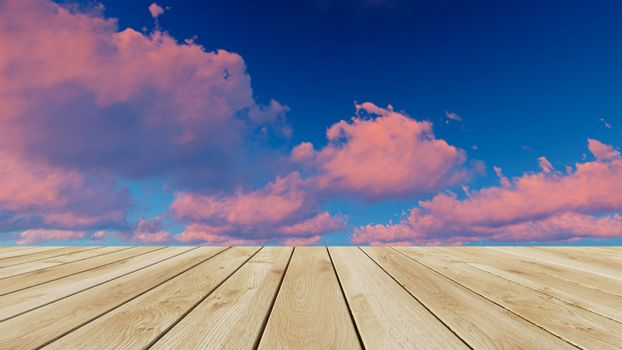 Perspective wood and sunset background