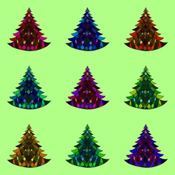 Vector seamless pattern of nine Christmas trees on a green background