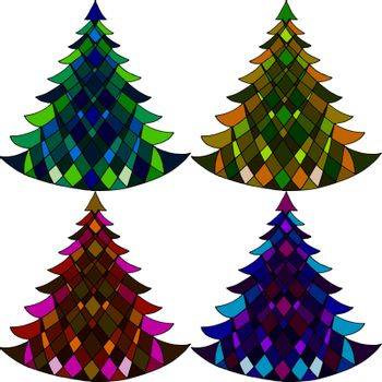 Vector seamless pattern of four Christmas trees on a white background