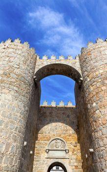 Avila Castle Town Walls Arch Gate Cityscape Castile Spain