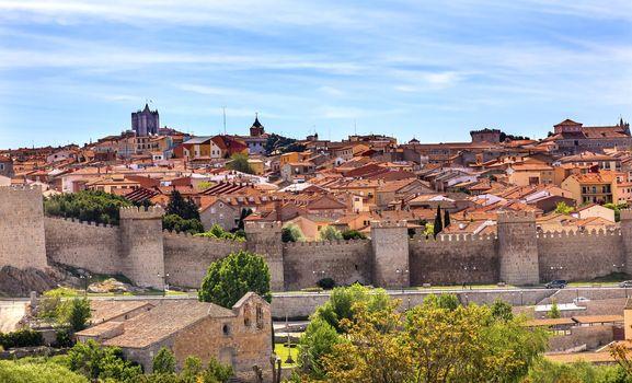 Avila Castle Walls Ancient Medieval City Cityscape Castile Spain