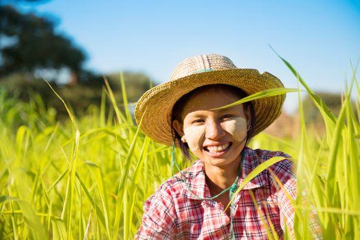 Young Myanmar female farmer