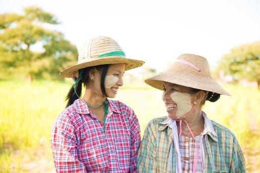 Traditional Myanmar female farmers