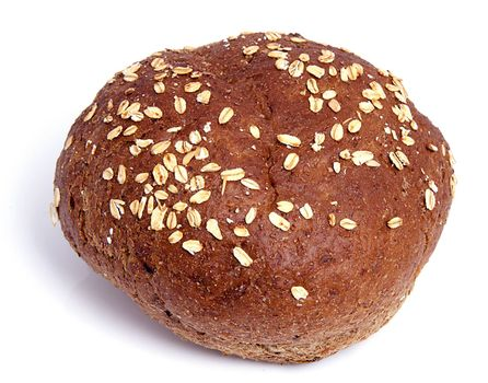 One healthy home baked bun on white background