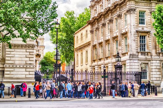 LONDON MAY 28: Tourists outside the gate of Downing Street in London on May 28, 2015. 10 Downing Street is the official office of the British Prime minister