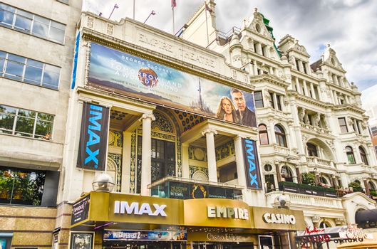 LONDON - MAY 28: Facade of the Empire Cinema in Leicester Square, London, on May 28, 2015. The Empire cinema was built in 1884 by Thomas Verity.