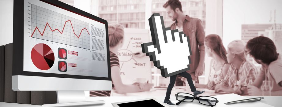 Cursor with legs against casual business people in office at presentation