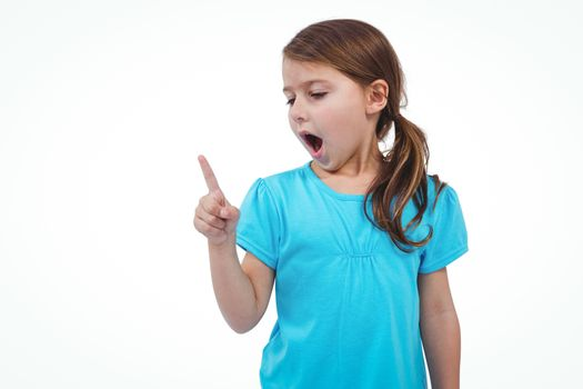 Cute girl shaking finger saying no