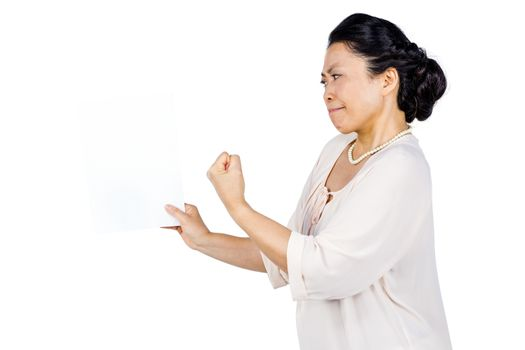 Angry woman shaking her fist