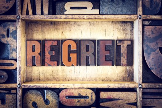Regret Concept Letterpress Type