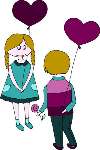 vector illustration picture boy and girl with balloons in the form of hearts