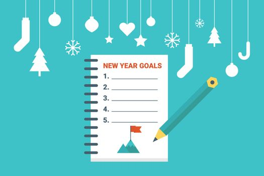Illustration of new year goals list, flat design concept with icons elements