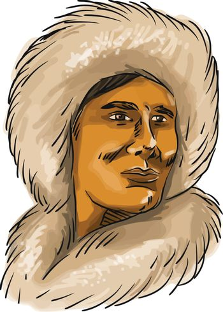 Eskimo Inuit Hooded Parka Watercolor