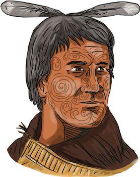 Maori Chief Warrior Bust Watercolor