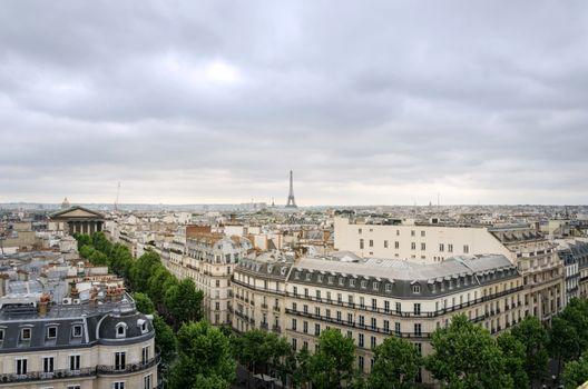 Rooftop Paris Skyline with Madeleine Church and Eiffel Tower