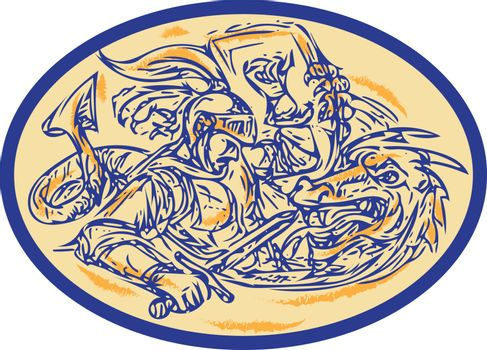 St George Fighting Dragon Drawing