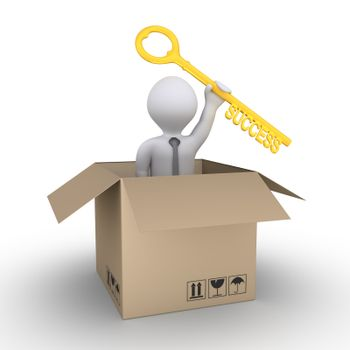 Businessman inside a carton box is holding a key of success