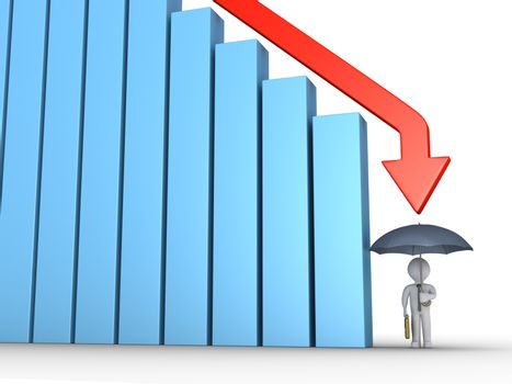 Graphic chart of columns and arrow is going downwards and businessman is protected by umbrella