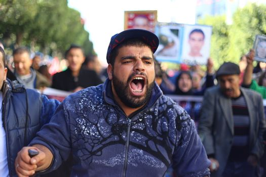 TUNISIA - TUNIS - REVOLUTION - DEMO