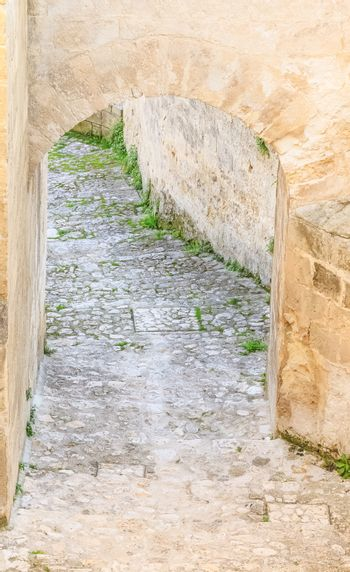 stairs of stones, the historic building in Matera in Italy UNESCO European Capital of Culture 2019