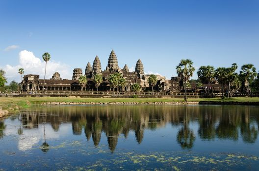 Angkor Wat with reflection in water in Siem Reap