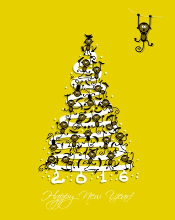 Christmas tree with funny monkeys for your design. Vector illustration