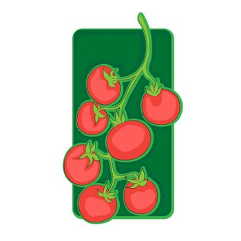Cherry tomatoes clip art, doodle illustration isolated on white