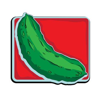 Cucumber clip art, doodle illustration isolated on white