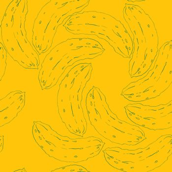 Seamless pattern with cucumbers in a spiral composition, doodle illustration over a dark yellow background