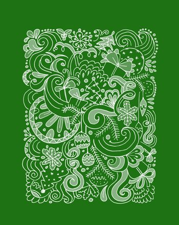 Abstract christmas pattern, sketch for your design. Vector illustration