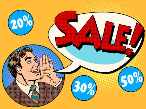 The man announces sale and discounts