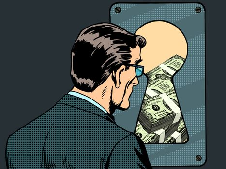 Financial security man money keyhole