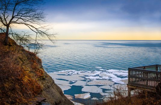 Wintry Lake Erie Overlook with Ice Floes