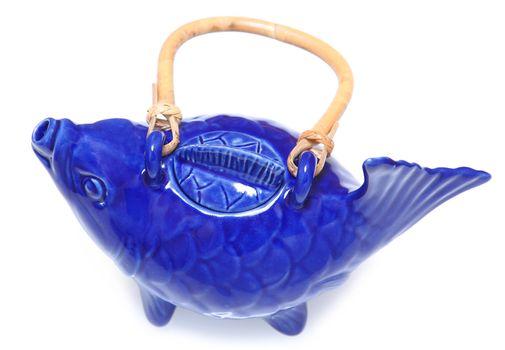 Blue Koi Fish Tea Pot