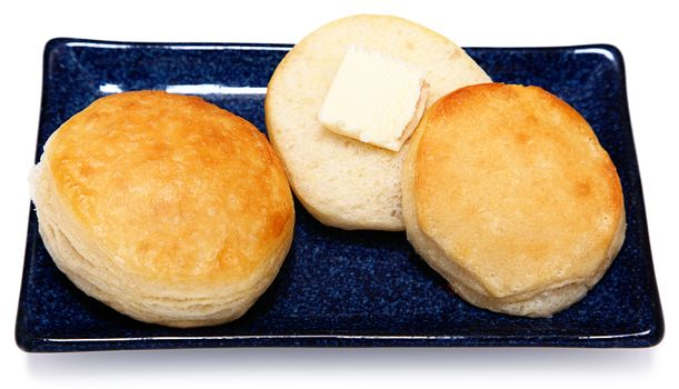 Golden Brown Fluffy Buttermilk Breakfast Buscuits on Blue Dish