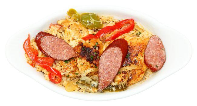 Cajun Jambalaya Voodoo Chicken and Sausage in Bowl