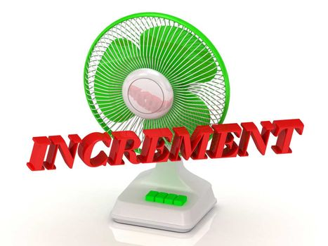 INCREMENT- Green Fan propeller and bright color letters on a white background