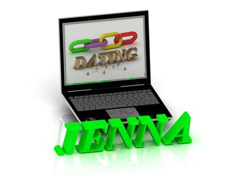 JENNA- Name and Family bright letters near Notebook and  inscription Dating on a white background