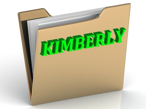 KIMBERLY- bright green letters on gold paperwork folder on a white background