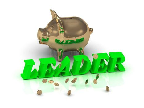 LEADER- inscription of green letters and gold Piggy on white background