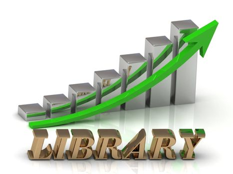 LIBRARY- inscription of gold letters and Graphic growth and gold arrows on white background