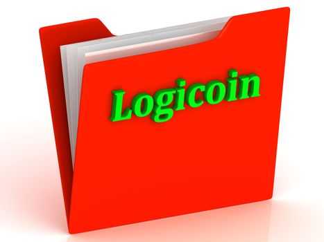 Logicoin- bright green letters on red paperwork folder witch paper list on a white background