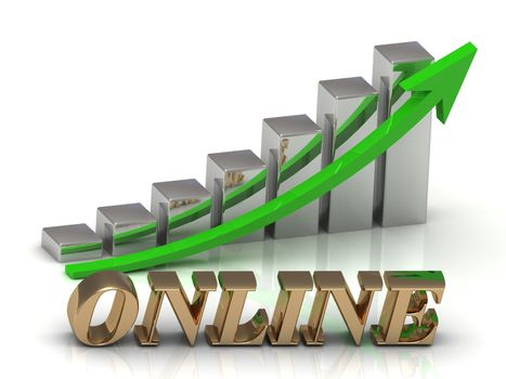 ONLINE- inscription of gold letters and Graphic growth and gold arrows on white background
