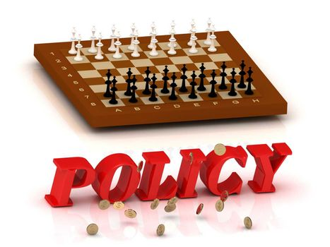 POLICY - inscription of color letters and chess on white background