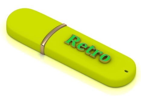 Retro flash - inscription bright green volume letter on yellow USB flash drive on white background