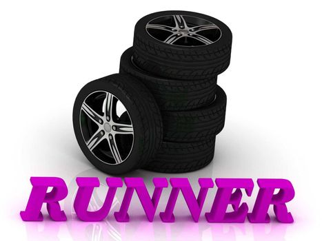 RUNNER- bright letters and rims mashine black wheels on a white background